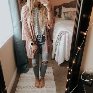 Mauve Bohemian Lace Kimono Cardigan